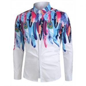 Feather Pattern Long Sleeves Shirt
