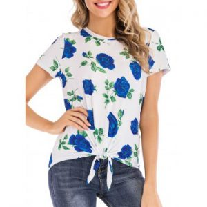 Floral Print Knotted Tee