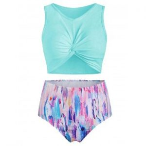 Feather Print Padded Tankini Swimsuit