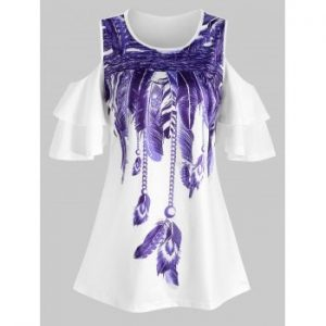 Tiered Sleeves Feather Print Tee