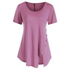 Button Embellished Short Sleeve T shirt