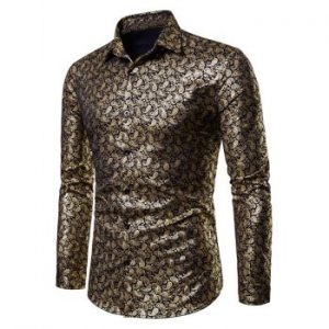 Foil Tiny Paisley Button Down Long Sleeve Shirt
