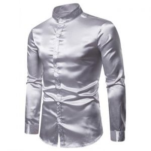 Stand Collar Solid Button Up Satin Shirt