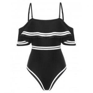 Contrast Piping Padded One piece Swimsuit