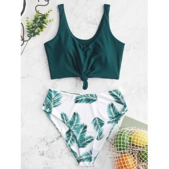 Leaf Print High Waisted Tankini Swimsuit