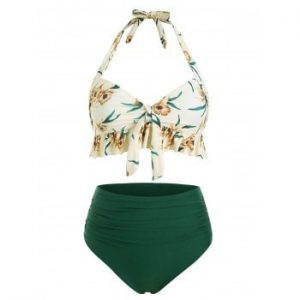 Ruffle Floral Ruched Bikini Swimsuit
