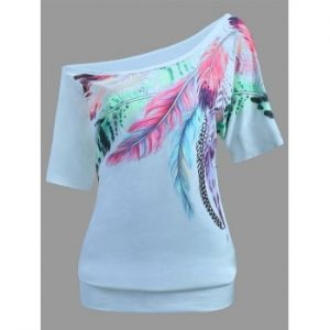 Feather Print Skew Neck Tee