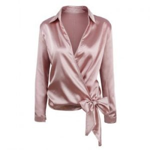 Knotted Surplice Satin Blouse