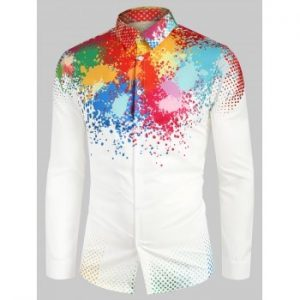 Colorful Splatter Painting Polka Dots Print Shirt