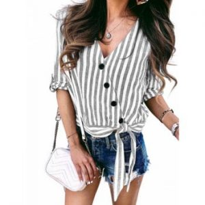 Buttons Striped Knotted Blouse