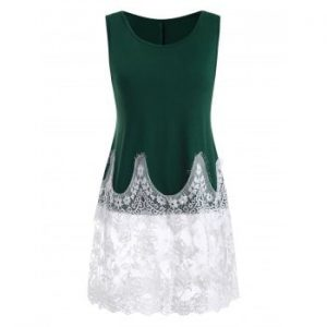 Lace Panel Two Tone Tank Top