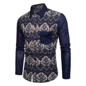 Ethnic Floral Zigzag Print Pocket Button Down Shirt