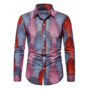 Ethnic Leaf Pattern Button Down Shirt