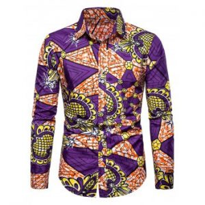 Ethnic Triangle Print Button Up Shirt