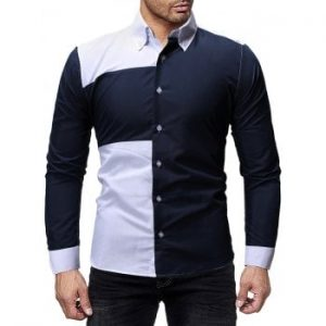 Two Tone Patch Button Up Casual Shirt