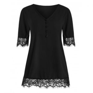 Eyelash Lace Panel Buttons Blouse