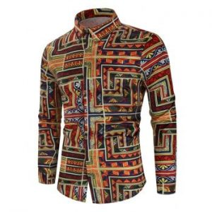 Ethnic Geometric Print Long sleeved Shirt