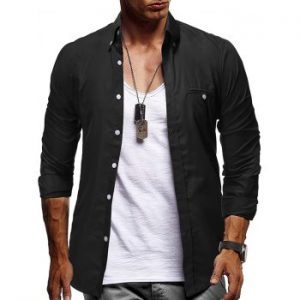 Plain Faux Pocket Design Button Up Shirt