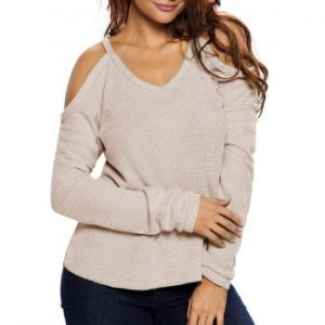 Cold Shoulder High Low Sweater