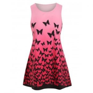 Butterfly Print Ombre Trapeze Dress