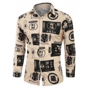 Chinese Character Graphic Drop Shoulder Button Up Shirt