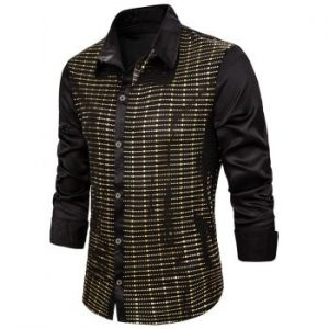 Shiny Sequins Button Up Long Sleeve Shirt