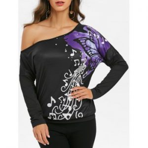 One Shoulder Music Butterfly Print Batwing Sleeve Tee