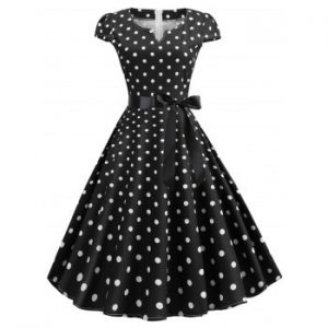 V Cut Polka Dot Dress