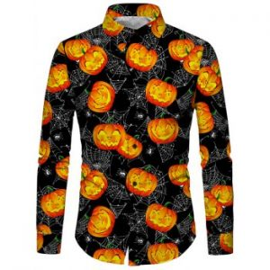 Pumpkin Print Long Sleeves Shirt