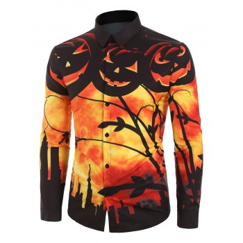 Pumpkin Graphic Print Shirt