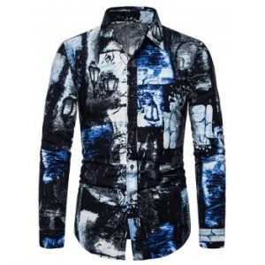 Ink Painting Print Long Sleeve Shirt
