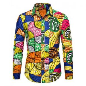 Printed Button Up Slim Fit Long Sleeve Shirt