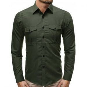 Solid Color Snap Button Pocket Long Sleeve Shirt