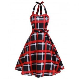 Plaid Shirred Lace up Vintage Dress