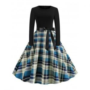 Plaid Belted Flare Dress
