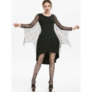 Spider Web Lace Insert High Low Dress