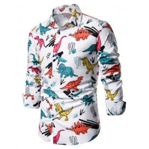 Colorful Dinosaur Print Button Up Long Sleeve Shirt