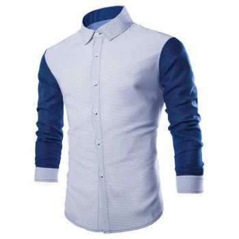 Micro Dot Contrast Color Button Up Casual Shirt