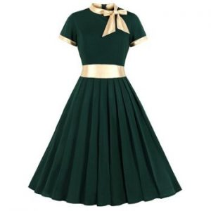 Knotted Contrast Trim Pleated Dress