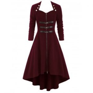 Dip Hem Button Embellished Trench Coat