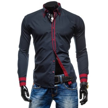 Color Spliced Button Up Shirt