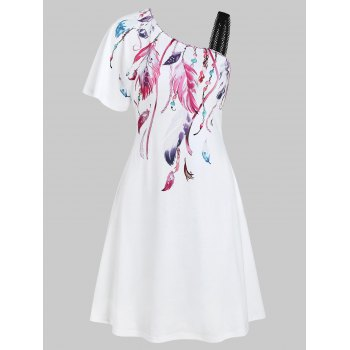 Feather Print One Shoulder Dress