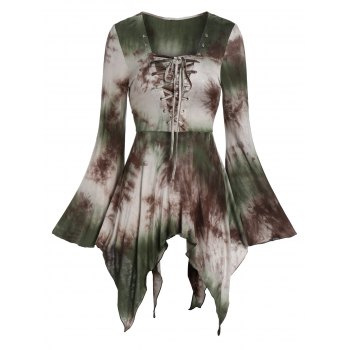 Bell Sleeve Tie Dye  Lace Up T Shirt