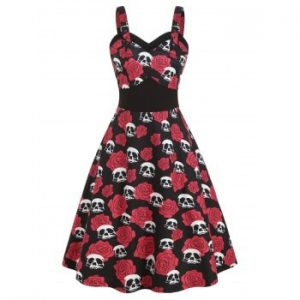 Skull Flower Print Halloween Dress