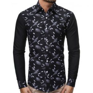 Plant Leaf Print Splicing Shirt