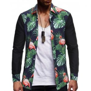 Flamingo Tropical Leaf Print Spliced Shirt