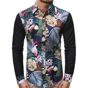 Tropical Plant Parrot Color Block Splicing Shirt