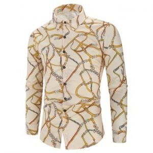 Pattern Print Long Sleeve Casual Shirt