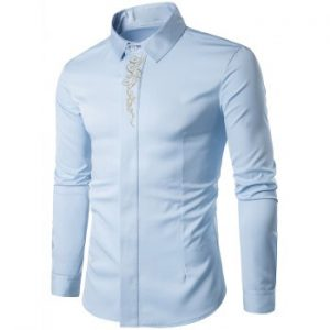 Baroque Embroidery Accent Button Up Long Sleeve Shirt