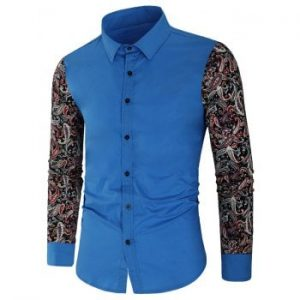 Vintage Floral Printed Splicing Long sleeved Shirt